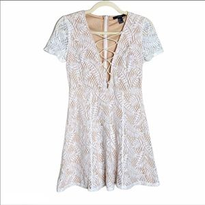 🍁 Forever21 Skater Lace Dress White Nude Small